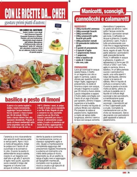 #RivistaSONO #RubricaFamigliaCUCINA #Milano #Italy #PastaLeonessa #Calendario2019 #PrimiAtavola #Ricette #VincenzoEspositoChef #AlfonsoPorporaChef #PasqualePalamaroChef #Press