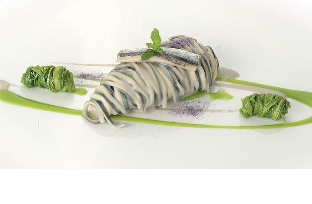 Amorini black white, Crema di alici e zucchine alla scapece. Ricetta dello chef Pasquale Palamaro