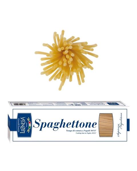 Spaghettoni Leonessa - perfetti per ogni ricetta, dal semplice primo piatto con pomodorino fresco alle ricette più corpose come il soffritto napoletano #Spaghettone #TrafilaInBronzo #SapienzaNapoletana #Naples #PastificioArtigianale #PastaLeonessa