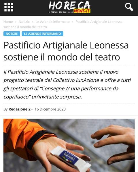 """Il Pastificio Artigianale Leonessa sostiene il mondo del teatro con """"Consegne, una performance da Coprifuoco"""""""