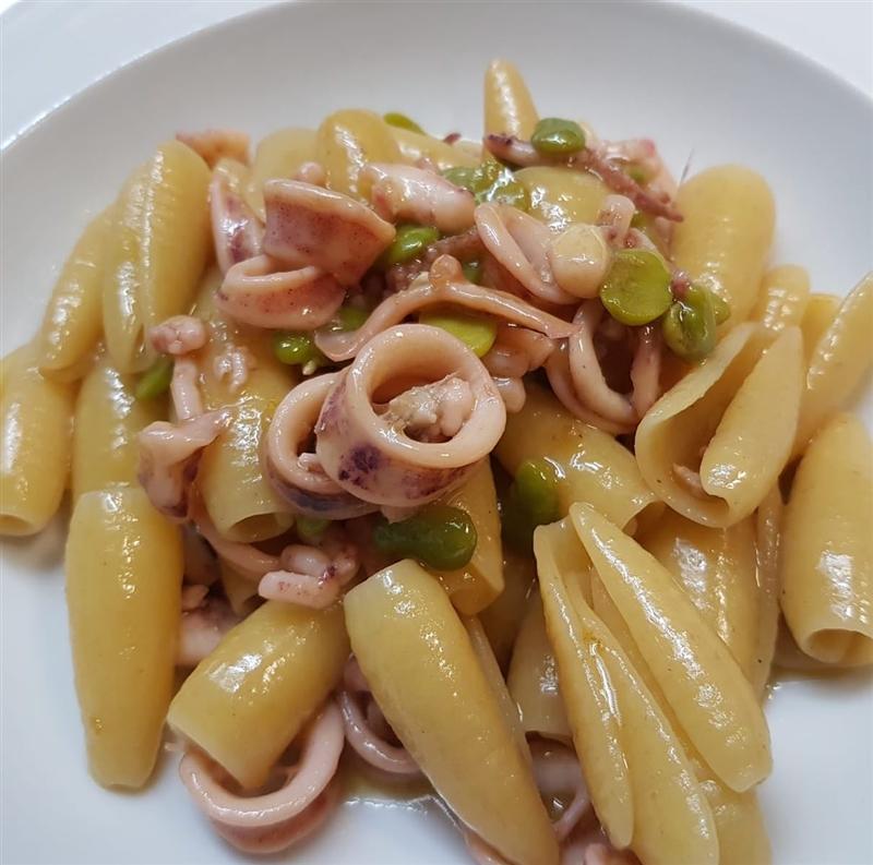 Maruzze Leonessa con totanetti fave e lime - chef Antonio Grasso di La Frescheria