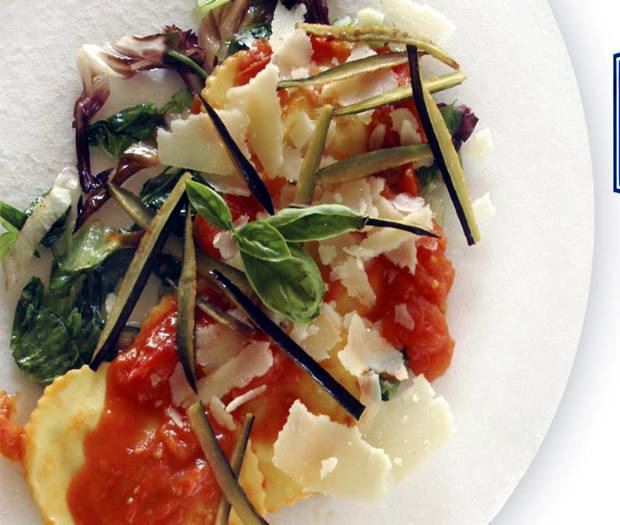 Agnolotti with eggplant, tomato and radicchio