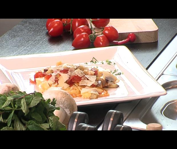 Agnolotti with cherry tomatoes, grilled aubergines and pecorino cheese
