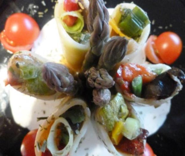 Paccheri ripieni di verdure su bavarese di mozzarella di bufala