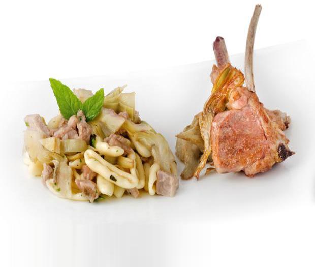 Trilli con agnello carciofi pecorino e menta (Piatto Unico)