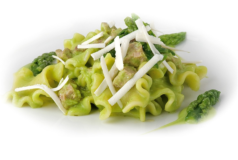 Mafaldelle Pasta with asparagus, greaves and salted ricotta cheese