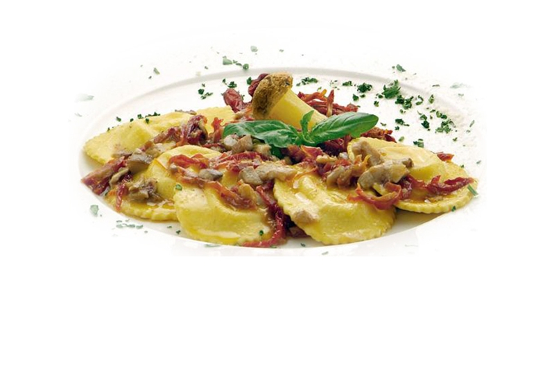 Agnolotti with dried tomatoes and porcini