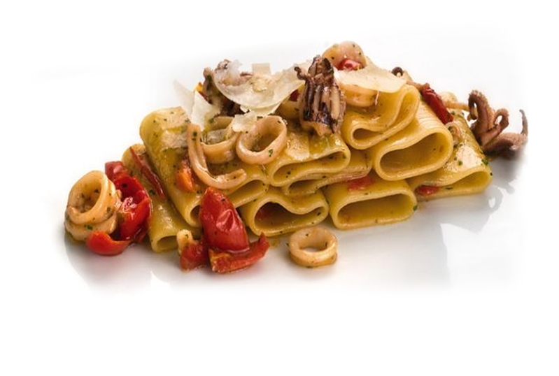 Paccheri pasta with Calamari, Pecorino cheese and oven baked tomatoes