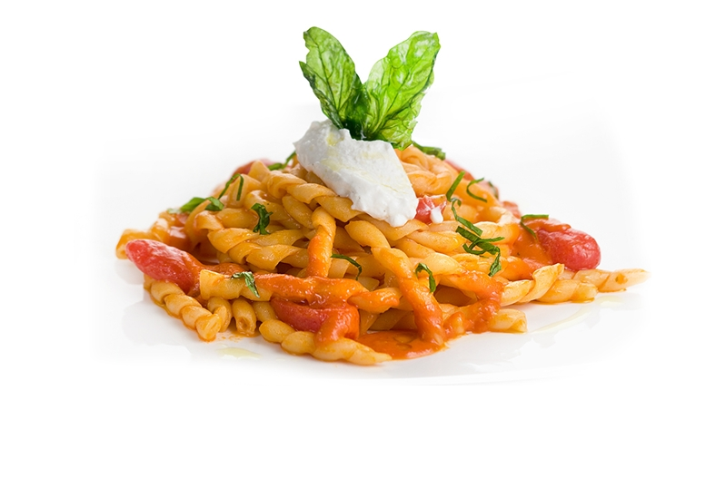 Fusilli with cherry tomatoes and ricotta cheese