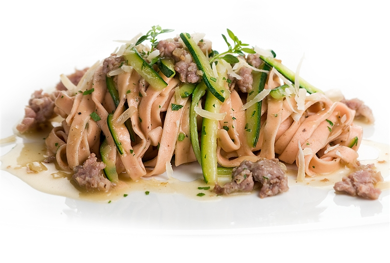 Fettuccine with Red Boar Sausage and Courgettes