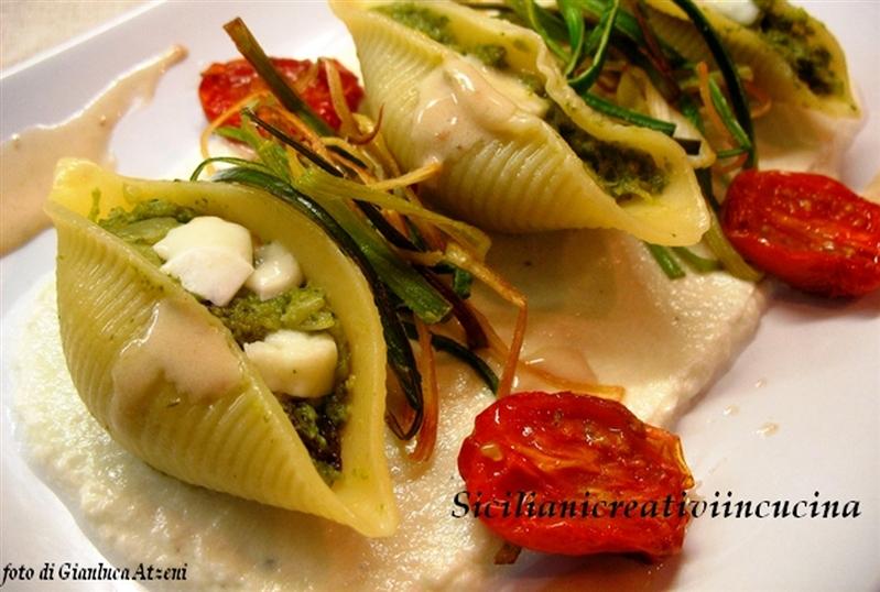 Conchiglioni with Sicilian broccoli, mozzarella cream and anchovy sauce