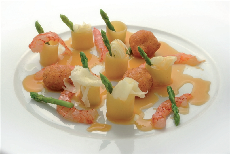 Mezze Maniche Pasta with Shrimp Neapolitan Ragù Sauce, asparagus and flakes of Provolone del Monaco Cheese