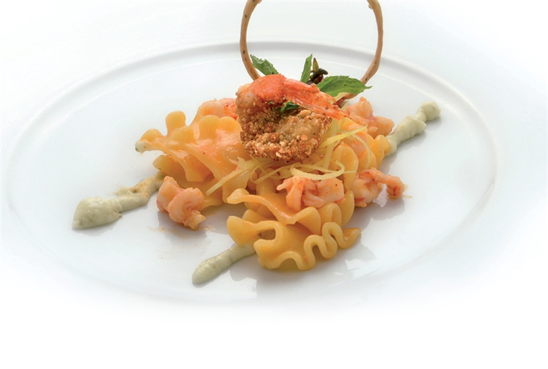"Mafaldelle Pasta with pink Prawns evaporated with ""Amalfi"" Lemons and served with Mint mousse"