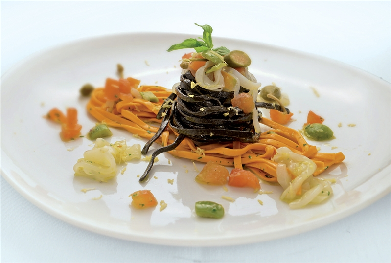 Red and black Tagliatelle Pasta with cuttlefish and Mediterranean Pesto