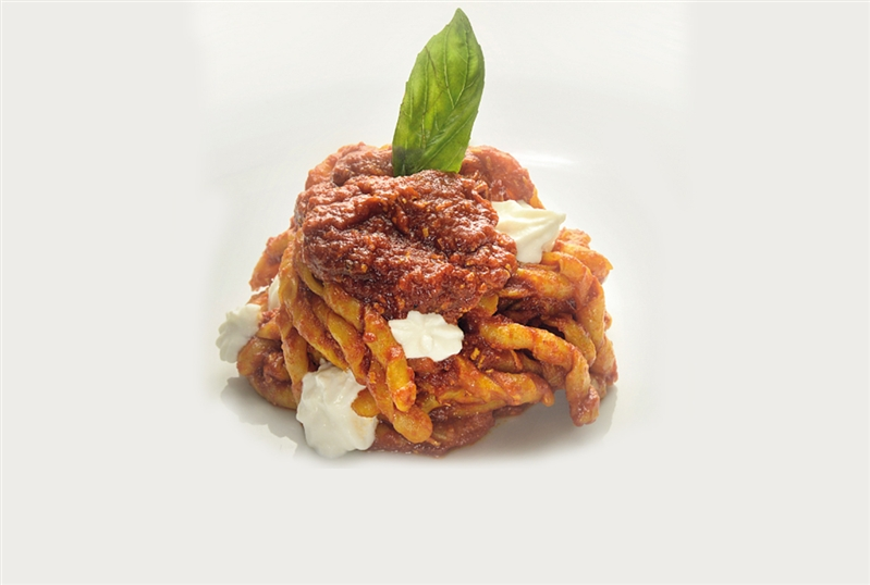 Fusilli with Meat Sauce and Baffalo Ricotta Cheese