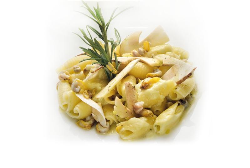 Maruzze e maruzzielli con porro ed insalatina di funghi porcini al lime