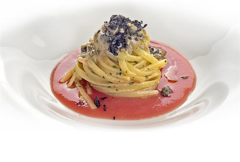 Leonessa Linguine Pasta with sea snails in a puttanesca sauce
