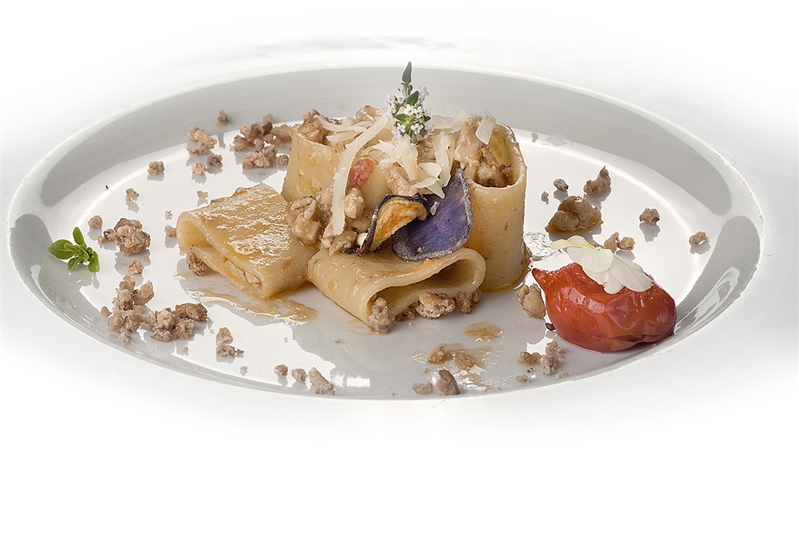 Leonessa Manicotti Pasta with rabbit sauce, cream of smoked eggplant and chestnut crumble