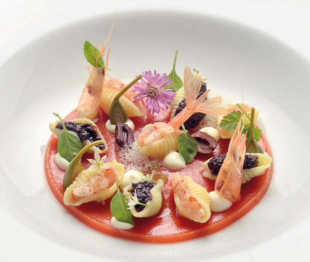 Warm salad of shells Pasta with shellfish, capers and black olives served with cherry tomatoes, burrata and basil